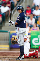 Mario Lisson (29) of the Northwest Arkansas Naturals stands in the batters box during a game against the Springfield Cardinals at Hammons Field on August 1, 2011 in Springfield, Missouri. Springfield defeated Northwest Arkansas 7-1. (David Welker / Four Seam Images)