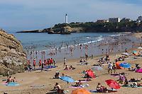 France, Aquitaine, Pyrénées-Atlantiques, Pays Basque, Biarritz: La Grande Plage  et le phare   //  France, Pyrenees Atlantiques, Basque Country, Biarritz: The Grande Plage and the lighthouse