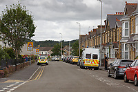 Pictured: The scene of the murder in Coleshill Terrace in Llanelli, Wales, UK. Monday 01 July 2019<br /> Re: Dyfed-Powys Police has today charged a 42-year-old man following the death of Andre Yan Irwin in Llanelli.<br /> Justin Ravenhill, from Aberavon, has been charged with murder and has been remanded in custody to appear at Llanelli Magistrates' Court.<br /> Mr Ravenhill was arrested on Saturday, June 29 after Mr Irwin was found injured in Coleshill Terrace during the early hours of the morning.<br /> Sadly, the 47-year-old father and grandfather died a short time later in hospital.<br /> Mr Irwin's next of kin continue to be supported by specially trained officers.