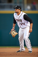 Lansing Lugnuts first baseman Rowdy Tellez (44) during a game against the Peoria Chiefs on June 6, 2015 at Cooley Law School Stadium in Lansing, Michigan.  Lansing defeated Peoria 6-2.  (Mike Janes/Four Seam Images)