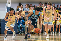 WASHINGTON, DC - FEBRUARY 8: Jameer Nelson Jr. #12 and Chase Paar #3 of George Washington chase Jeff Dowtin #11 of Rhode Island on a breakaway during a game between Rhode Island and George Washington at Charles E Smith Center on February 8, 2020 in Washington, DC.