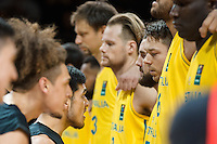Melbourne, 15 August 2015 - The New Zealand team perform the Haka prior to the start of game one of the 2015 FIBA Oceania Championships in men's basketball between the Australian Boomers and the New Zealand Tall Blacks at Rod Laver Arena in Melbourne, Australia. Aus def NZ 71-59. (Photo Sydney Low / sydlow.com)
