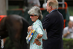 July 14, 2012 Gretchen and Roy Jackson watch their mare Senada as she walks in the paddock before competing in the Robert S. Dick Memorial Stakes at Delaware Park, Stanton, DE.  Starformer, trained by William Mott and ridden by Edgar Prado, won the race. ©Joan Fairman Kanes/Eclipsesportswire