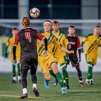 13 November 2019: University of Vermont Catamount Midfielder Frosti Brynjólfsson, a Freshman from Akureyri, Iceland, in action against the University of Hartford Hawks at Virtue Field in Burlington, Vermont. The Catamounts fell to the visiting Hawks 3-2 in sudden death overtime of the Division 1 Men's Soccer America East matchup. Mandatory Credit: Ed Wolfstein Photo *** RAW (NEF) Image File Available ***