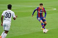 19th December 2020; Camp Nou, Barcelona, Catalonia, Spain; La Liga Football, Barcelona versus Valencia;  Coutinho of Barca takes on Musah of Valencia