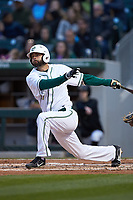 Zack Smith (19) of the Charlotte 49ers follows through on his swing against the North Carolina Tar Heels at BB&T BallPark on March 27, 2018 in Charlotte, North Carolina. The Tar Heels defeated the 49ers 14-2. (Brian Westerholt/Four Seam Images)
