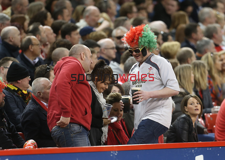 A patriotic Welsh rugby fan in fancy dress.<br /> RBS 6 Nations 2014<br /> Wales v Scotland<br /> Millennium Stadium<br /> <br /> 15.03.14<br /> <br /> ©Steve Pope-SPORTINGWALES