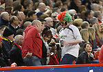A patriotic Welsh rugby fan in fancy dress.<br /> RBS 6 Nations 2014<br /> Wales v Scotland<br /> Millennium Stadium<br /> <br /> 15.03.14<br /> <br /> ©Steve Pope-SPORTINGWALES