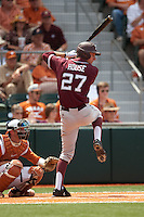 Texas A&M Aggies first baseman Jacob House #27 at bat during the NCAA baseball game against the Texas Longhorns on April 28, 2012 at UFCU Disch-Falk Field in Austin, Texas. The Aggies beat the Longhorns 12-4. (Andrew Woolley / Four Seam Images).