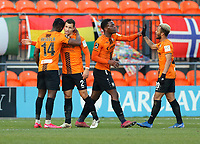 Cheye Alexander (no2) is congratulated after scoring the first goal for Barnet during Barnet vs Barrow, Buildbase FA Trophy Football at the Hive Stadium on 8th February 2020