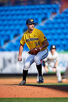 Michigan Wolverines relief pitcher Jack Bredeson (34) delivers a pitch during a game against Army West Point on February 17, 2018 at Tradition Field in St. Lucie, Florida.  Army defeated Michigan 4-3.  (Mike Janes/Four Seam Images)