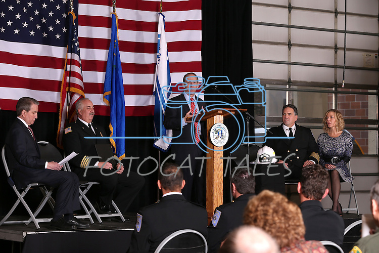 City Manager Nick Marano speaks at Carson City Fire Chief Bob Schreihans' badge-pinning ceremony at Station 51 in Carson City, Nev., on Tuesday, Feb. 3, 2015. <br /> Photo by Cathleen Allison