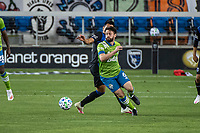 SAN JOSE, CA - OCTOBER 18: Joao Paulo #6 of the Seattle Sounders dribbles the ball during a game between Seattle Sounders FC and San Jose Earthquakes at Earthquakes Stadium on October 18, 2020 in San Jose, California.