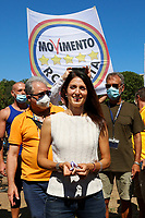 The mayor of Rome Virginia Raggi during a picnic at Caffarella park, in occasion of the election campaign for the new mayor of the city.<br /> Rome (Italy), September 12th 2021<br /> <br /> Photo Samantha Zucchi Insidefoto