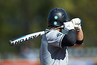 Cooper Weiss (7) of the Coastal Carolina Chanticleers at bat against the Duke Blue Devils at Segra Stadium on November 2, 2019 in Fayetteville, North Carolina. (Brian Westerholt/Four Seam Images)