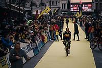 Belgian Champion Oliver Naesen (BEL/AG2R mondiale) rolling towards the start<br /> <br /> 102nd Ronde van Vlaanderen 2018 (1.UWT)<br /> Antwerpen - Oudenaarde (BEL): 265km