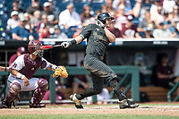Vanderbilt Commodores outfielder JJ Bleday (51) follows through on his swing during Game 8 of the NCAA College World Series against the Mississippi State Bulldogs on June 19, 2019 at TD Ameritrade Park in Omaha, Nebraska. Vanderbilt defeated Mississippi State 6-3. (Andrew Woolley/Four Seam Images)