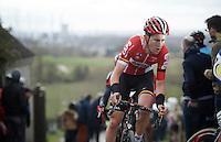 Tiesj Benoot (BEL/Lotto-Soudal) on top of the Paterberg<br /> <br /> 71st Dwars door Vlaanderen (1.HC)