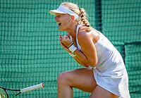 London, England, 6 th. July, 2018, Tennis,  Wimbledon, Womans singel third round, Kiki Bertens (NED) defeats Venus Williams (USA) and celebrates<br /> Photo: Henk Koster/tennisimages.com