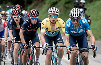 Alejandro Valverde (ESP/Movistar) setting a fierce pace up the climb towards La Plagne (HC/2072m/17.1km@7.5%) with GC leader Alexey Lutsenko (KAZ/Astana - Premier Tech) matching it.<br /> <br /> 73rd Critérium du Dauphiné 2021 (2.UWT)<br /> Stage 7 from Saint-Martin-le-Vinoux to La Plagne (171km)<br /> <br /> ©kramon