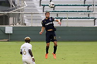 CARY, NC - AUGUST 01: Steven Miller #31 heads the ball during a game between Birmingham Legion FC and North Carolina FC at Sahlen's Stadium at WakeMed Soccer Park on August 01, 2020 in Cary, North Carolina.
