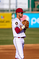 Wisconsin Timber Rattlers third baseman Antonio Pinero (3) during a Midwest League game against the Burlington Bees on April 26, 2019 at Fox Cities Stadium in Appleton, Wisconsin. Wisconsin defeated Burlington 2-0. (Brad Krause/Four Seam Images)