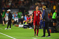 Carson, CA - Thursday August 03, 2017: Carli Lloyd, Jill Ellis during a 2017 Tournament of Nations match between the women's national teams of the United States (USA) and Japan (JPN) at the StubHub Center.