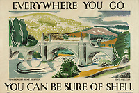 BNPS.co.uk (01202 558833)<br /> Pic: Lyon&Turnbull/BNPS<br /> <br /> Pictured: A poster featuring General Wades Bridge in Aberfeldy is up for sale at the auction<br /> <br /> A vast collection of vintage Shell posters have sold at auction for almost £60,000.<br /> <br /> The group of 49 sheets were sold directly from the oil giant's archives and featured some incredibly rare designs from down the years.<br /> <br /> All of the posters had previously been used in Shell advertising campaigns, dating back to between the 1920s and 1950s.<br /> <br /> Many of the colourful designed featured the slogan 'You can be sure of Shell' and list people who preferred their fuel.