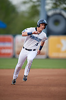 West Michigan Whitecaps designated hitter Cole Bauml (16) runs the bases during a game against the Clinton LumberKings on May 3, 2017 at Fifth Third Ballpark in Comstock Park, Michigan.  West Michigan defeated Clinton 3-2.  (Mike Janes/Four Seam Images)