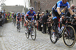 The peloton including Sylvain Chavanel (FRA) Omega Pharma-Quickstep climbs Molenberg during the 96th edition of The Tour of Flanders 2012, running 256.9km from Bruges to Oudenaarde, Belgium. 1st April 2012. <br /> (Photo by Eoin Clarke/NEWSFILE).