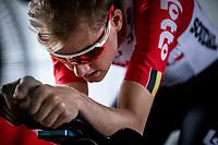 Later stage winner Tim Wellens (BEL/Lotto Soudal) with his pre Timetrial Warming up. <br /> <br /> Baloise Belgium Tour 2019<br /> Stage 3: ITT Grimbergen – Grimbergen 9.2km<br /> ©kramon