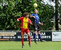 Veldegem - Oelegem :....luchtgevecht tussen Sam Verstraete (L) en Kevin De Wulf (R)..foto VDB / BART VANDENBROUCKE