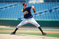Jordan Ver Steeg #20 of Mount Paran High School in Kennesaw, Georgia playing for the Atlanta Braves scout team during the East Coast Pro Showcase at Alliance Bank Stadium on August 4, 2012 in Syracuse, New York.  (Mike Janes/Four Seam Images)