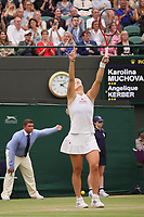 6th July 2021, Wimbledon, SW London, England; 2021 Wimbledon Championships, day 8;  Angelique Kerber of Germany celebrates her win during the womens quarterfinal match with Karolina Muchova of the Czech Republic