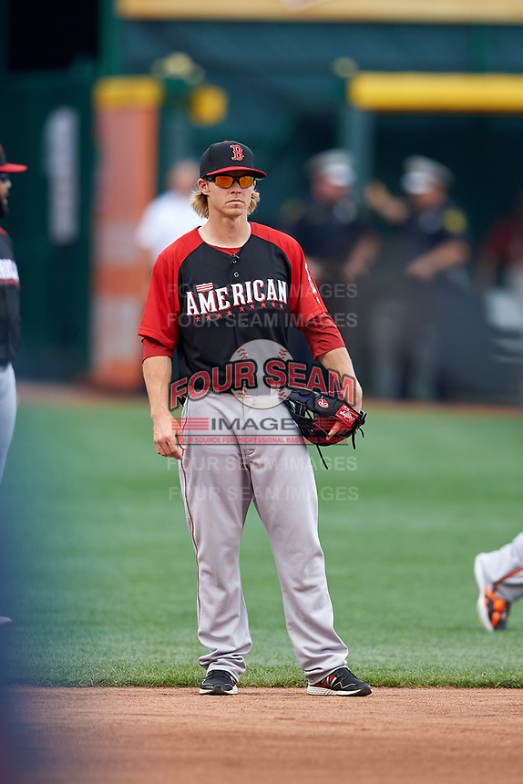 Boston Red Sox Brock Holt during practice before the MLB All-Star Game on July 14, 2015 at Great American Ball Park in Cincinnati, Ohio.  (Mike Janes/Four Seam Images)