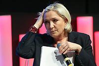 MARINE LE PEN, MEDEF LES MATINALES ENTREPRISES ET POLITIQUES DE LA PRESIDENTIELLE 2017 A L'ELYSEES BIARRITZ, PARIS, FRANCE, LE 28/03/2017.