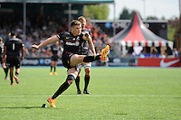 Owen Farrell of Saracens takes a penalty kick after coming off the bench