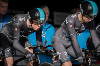 Chris Froome (GBR/SKY) focused in teh start box<br /> <br /> Men's Team Time Trial<br /> <br /> UCI 2017 Road World Championships - Bergen/Norway