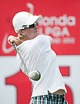 CHON BURI, THAILAND - FEBRUARY 16:  Karrie Webb of Australia tees off on the 15th hole during day one of the LPGA Thailand at Siam Country Club on February 16, 2012 in Chon Buri, Thailand.  Photo by Victor Fraile / The Power of Sport Images