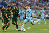 ST PAUL, MN - JULY 24: Robin Lod #17 of Minnesota United FC takes a shot during a game between Portland Timbers and Minnesota United FC at Allianz Field on July 24, 2021 in St Paul, Minnesota.