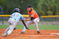 Baltimore Orioles shortstop Gunnar Henderson (93) waits for a throw as Osmy Gregorio (43) slides in during a Minor League Spring Training game against the Tampa Bay Rays on April 23, 2021 at Charlotte Sports Park in Port Charlotte, Florida.  (Mike Janes/Four Seam Images)