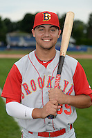Brooklyn Cyclones outfielder Michael Conforto (39) poses for a photo before a game against the Batavia Muckdogs on August 11, 2014 at Dwyer Stadium in Batavia, New York.  Batavia defeated Brooklyn 4-3.  (Mike Janes/Four Seam Images)