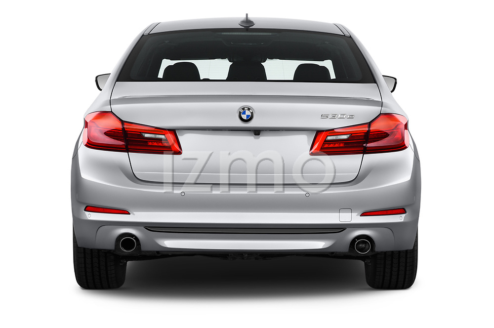 Straight rear view of a 2018 BMW 5 Series 530e iPerformance 4 Door Sedan stock images
