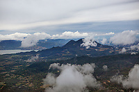 aerial photograph Mount Konocti and Clear Lake during a stormy spring day, Lake County, California