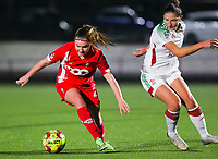 Davinia Vanmechelen (25 Standard) and Sara Yuceil (13 OHL) in action during a female soccer game between Oud Heverlee Leuven and Standard Femina De Liege on the 10th matchday of the 2020 - 2021 season of Belgian Womens Super League , sunday 20 th of December 2020  in Heverlee , Belgium . PHOTO SPORTPIX.BE   SPP   SEVIL OKTEM