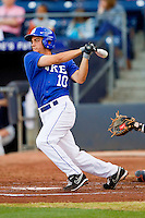 Angelo La Bruna #10 of the Duke Blue Devils follows through on his swing against the Virginia Cavaliers at Durham Bulls Athletic Park on April 20, 2012 in Durham, North Carolina.  The Blue Devils defeated the Cavaliers 6-3.  (Brian Westerholt/Four Seam Images)