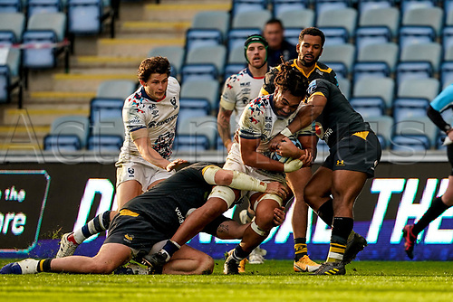 22nd November 2020; Ricoh Arena, Coventry, West Midlands, England; English Premiership Rugby, Wasps versus Bristol Bears; John Afoa of Bristol holds on to the ball as he is double tackled