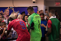 SAINT PAUL, MN - JUNE 18: Gyasi Zardes, Zack Steffen of the United States during a 2019 CONCACAF Gold Cup group D match between the United States and Guyana on June 18, 2019 at Allianz Field in Saint Paul, Minnesota.