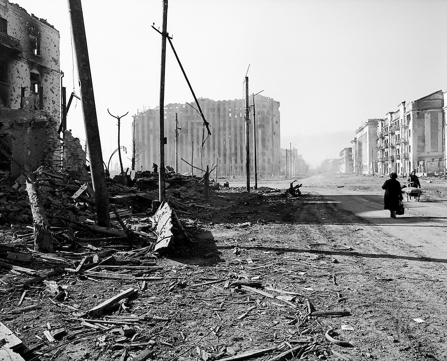 Grozny, Chechnya, March 1995..The destroyed Presidential Palace in the ruined Chechen capital after rebel forces retreated from the city in the face of the Russian bombardment.