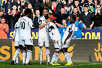 Saturday 19 October 2013 Pictured: Jonathan de Guzman celebrates his goal with team mates<br /> Re: Barclays Premier League Swansea City vSunderland at the Liberty Stadium, Swansea, Wales